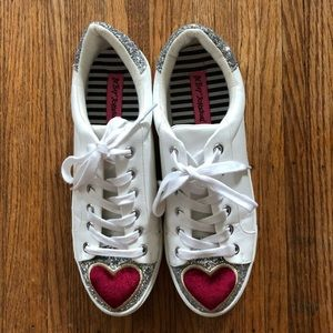 Betsey Johnson Blair White Leather Sneakers 8